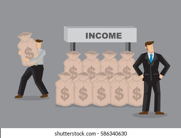 Business professional of unaware of his income being stolen behind his back. Creative cartoon vector illustration for concept on losing money unnoticed.