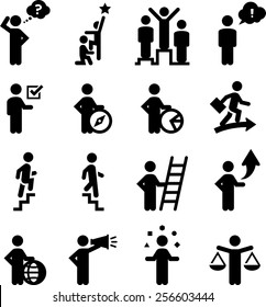 Business professionals, career advancement and human resources icons