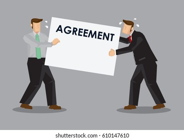 Business professionals having dispute over agreement contract. Cartoon vector illustration on business disputes concept.