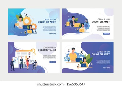 Business professionals using laptops set. Recruit agents analyzing candidates profiles Flat vector illustrations. Business, teamwork concept for banner, website design or landing web page