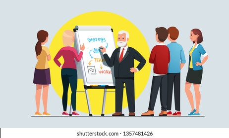 Business professor explaining strategy planning and team work process workshop, drawing diagram on whiteboard. Student group listening to experienced elder bearded teacher man. Flat vector illustratio