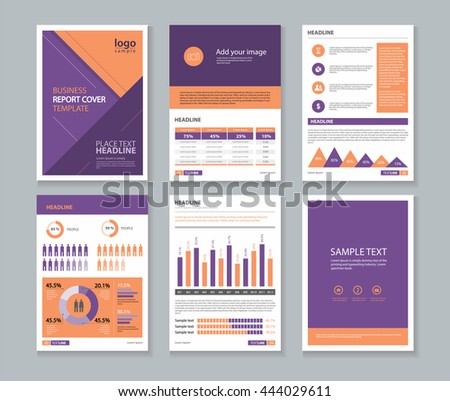 business profile and annual report layout template with infographics elements concept