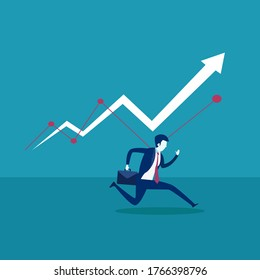 Business profit vector concept: businessman carrying his suitcase while running below the increasing  business chart arrow