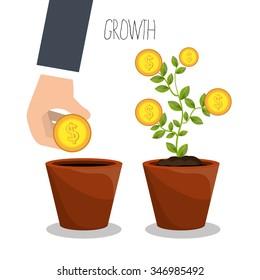 Business profits growth graphic design, vector illustration eps10