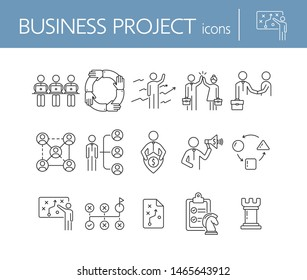 Business project icons. Set of line icons on white background. Strategist, strategic plan, scheme. Strategy concept. Vector illustration can be used for topics like business, management, planning