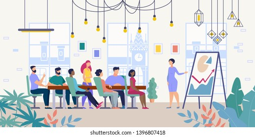 Business Project Presentation, Company Financial Strategy Planning Flat Vector Concept with Female Leader Showing Infographics on Flipchart for Company Employees in Office Meeting Room Illustration