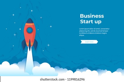 Business project startup, financial planning, idea development process, strategy, management, realization and success. Rocket launch on the clouds and blue sky. Vector banner