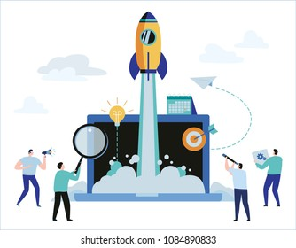 Business project startup process concept.