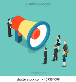 Business promotion concept. 3d isometric scene, man addresses crowd of business people with giant megaphone.