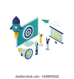 business promotion isometric illustration, social media marketing isometric illustration, isometric business vector illustration with color