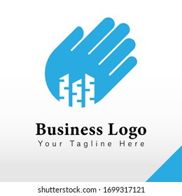Business Property Consultant Logo Template whit building in hand illustration