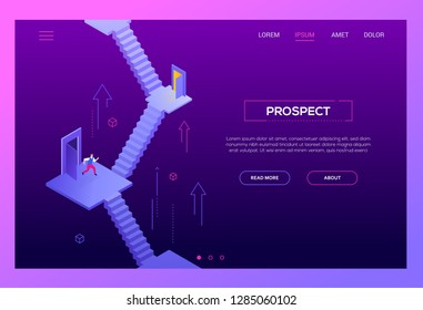 Business prospect - modern isometric vector website header on white background with copy space for your text. Landing page template with businessman standing on the staircase, thinking where to go