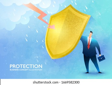 Business protection concept. Businessman rising the golden shield against rainstorm and lightning protecting himself from harm. Business vector illustration.