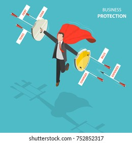 Business protection flat, isometric low poly vector concept. Man with a red cloak is hovering over the ground like a superhero with shields in his hands defending from arrows