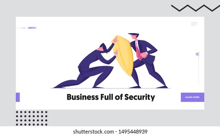 Business Protection, Onslaught and Confrontation Website Landing Page. Businessman Trying to Overcome Resistance Attacking Man with Golden Shield Web Page Banner. Cartoon Flat Vector Illustration