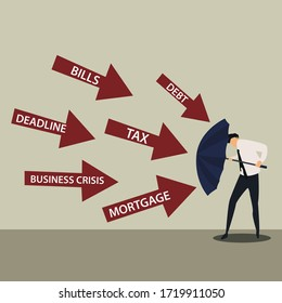 Business protection vector concept: Businessman protecting himself from business problems  with an umbrella