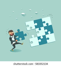 Business pushing last piece of puzzle. Business success concept. Vector illustration.