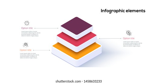 Business pyramid chart infographics with 3 steps. Pyramidal stages graph elements. Company hiararchy levels presentation template. Vector info graphic design.