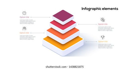 Business pyramid chart infographics with 4 steps. Pyramidal stages graph elements. Company hiararchy levels presentation template. Vector info graphic design.