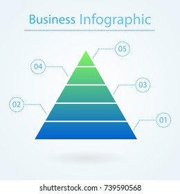 Business pyramid for infographic. 5 levels. Marketing concept. Pyramid chart diagram with numbers. Vector illustration isolated on background.