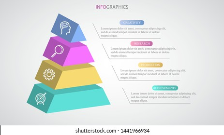 Business pyramid Infographic design workflow with icons and four steps. Paper 3d style process stages diagram. Layout for presentations, timeline calendar, productivity creative banner illustration.