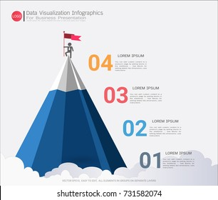 Business pyramid infographic template with four steps or options, Communicates data through charts, graphs, Make facts and statistics more interesting, and easier to understand.