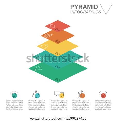 business pyramid infographics pyramid presentation 5 stock vector