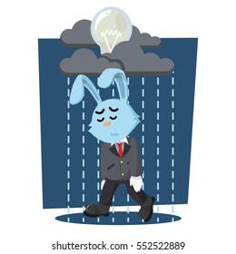 business rabbit with raining dead bulb