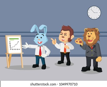 Business rabbit showing financial growth to his workmates in the office