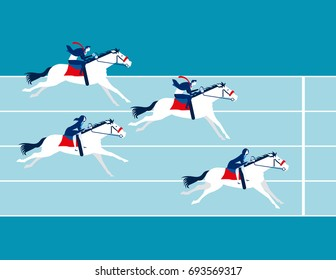 Business race. People ride a horse. Concept business vector illustration.