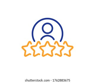 Business rank line icon. Employee nomination sign. Human rating symbol. Colorful thin line outline concept. Linear style human rating icon. Editable stroke. Vector