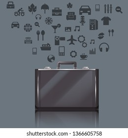 Business realistic suitecase with lots of things inside it. Vector illustration.