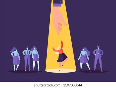 Business Recruitment Concept with Flat Characters. Employer Choosing One Woman from Group of People. Hiring, Human Resources, Job Interview. Vector illustration