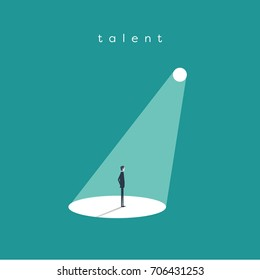 Business recruitment or hiring vector concept. Businessman standing in spotlight or searchlight as symbol of unique talent and skills. Eps10 vector illustration.