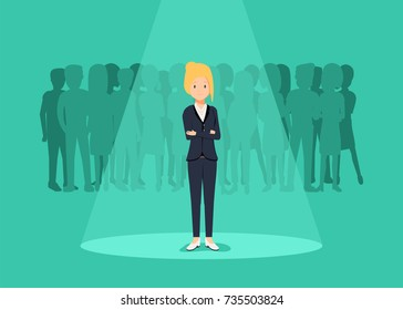 Business recruitment or hiring vector concept. Looking for talent. Businesswoman standing in spotlight or searchlight looking for new career opportunities. Eps10 vector illustration.