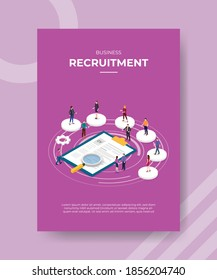 business recruitment people standing on circle shape around curriculum vitae for template of banner and flyer for printing magazine cover and poster