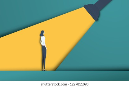 Business recruitment and talent headhunting vector concept in modern 3d paper cutout style. Businesswoman in spotlight. Symbol of hiring, employee search, vacancy. Eps10 vector illustration.