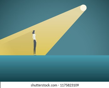 Business recruitment vector concept. Businesswoman in spotlight. Symbol of hiring, headhunting, searching for talent, skill, new career opportunities. Eps10 vector illustration.