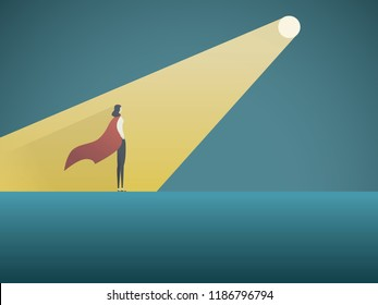 Business recruitment vector concept. Businesswoman superhero in spotlight. Symbol of hiring, headhunting, searching for talent, skill, new career opportunities. Eps10 vector illustration.