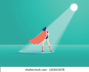 Business recruitment vector concept. Businesswoman superhero in spotlight. Symbol of hiring, headhunting searching for talent, skill new career opportunities. Eps10 vector illustration. Feminism art