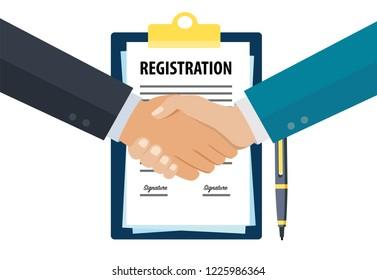 Business registration handshake