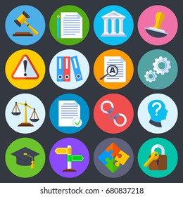 Business regulation, legal compliance and copyright vector flat icons. Law legal regulation, compliance and agreement contract illustration
