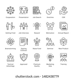 Business Related Thin Line Icons,  Conceptual  Collection, Editable Stroke