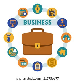 Business related vector infographic, flat style