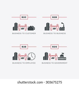 Business relations icon set