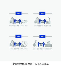Business relations icon set. B2B, B2C, B2E & B2G - business-to-b