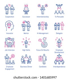 Business Relationship and Human Resource Management Related Thin Line Icons - Editable Stroke
