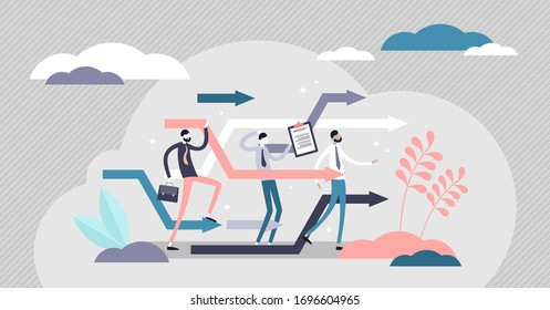 Business reorganize vector illustration. Company change in flat tiny persons concept. Progress and development strategy readjustment in unstable market situation.