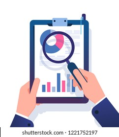 Business report concept. Businessman researching financial office document with magnifying glass. Data analysis vector illustration