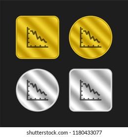 Business report graphic with descendant line hand drawn symbol gold and silver metallic coin logo icon design